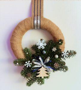 Couronne de Noël en jute blanche