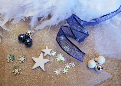 couronne noel bleu nuit - blanc