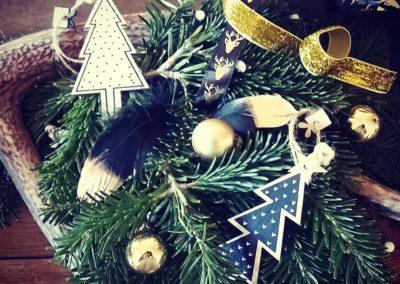Couronne de Noël bois - noir -dorée