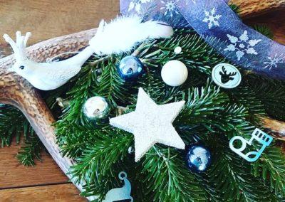 couronne de Noël bleu - argent - blanc