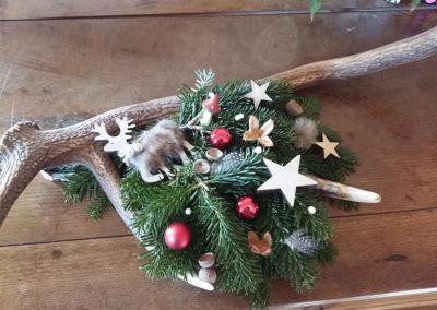 Couronne de Noël naturelle rouge - blanc